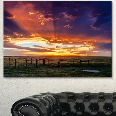 Designart Dramatic Sunset Over Prairie Large Landscape Canvas Art - 3 Panels