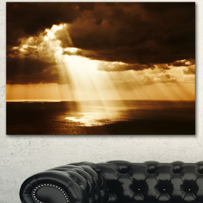 Designart Dramatic Sunset With Sunrays LandscapeCanvas Art Print - 3 Panels