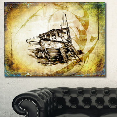 Designart Drawing Of Large Ancient Boat SeashoreWall Art On Canvas - 3 Panels