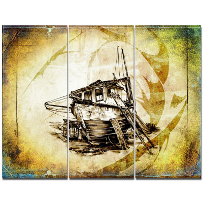 Design Art Drawing Of Large Ancient Boat SeashoreWall Art On Canvas - 3 Panels