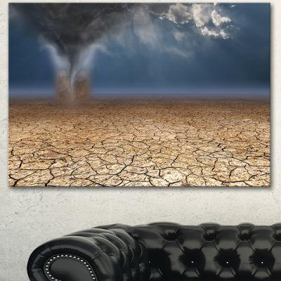 Designart Dust Devil In The Desert Landscape Canvas Art Print - 3 Panels