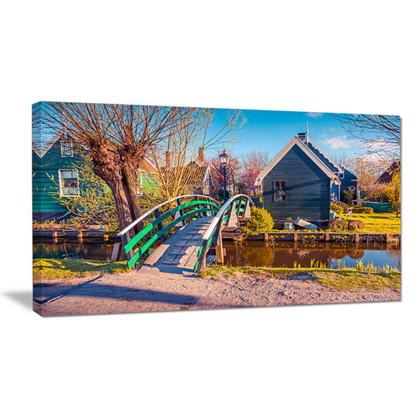 Design Art Dutch Buildings In Zaanstad Village Landscape Canvas Art Print