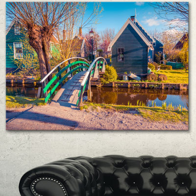 Designart Dutch Buildings In Zaanstad Village Landscape Canvas Art Print - 3 Panels
