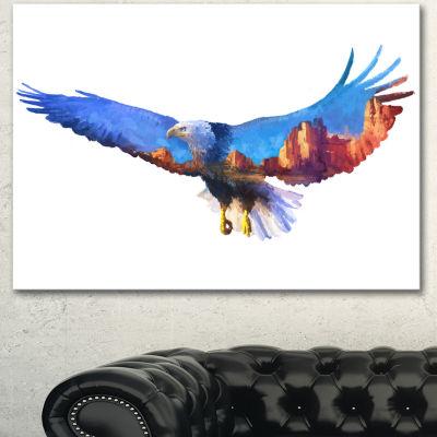 Designart Eagle Double Exposure Illustration LargeAnimal Canvas Art Print