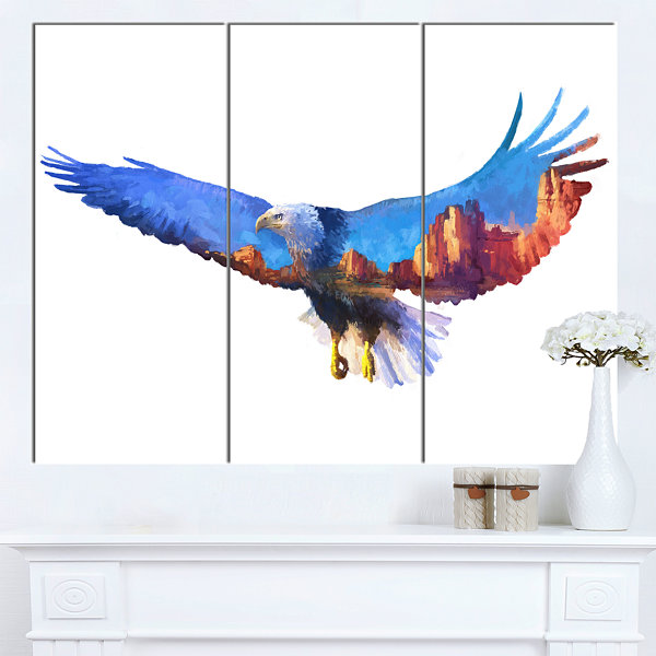 Designart Eagle Double Exposure Illustration LargeAnimal Canvas Art Print - 3 Panels