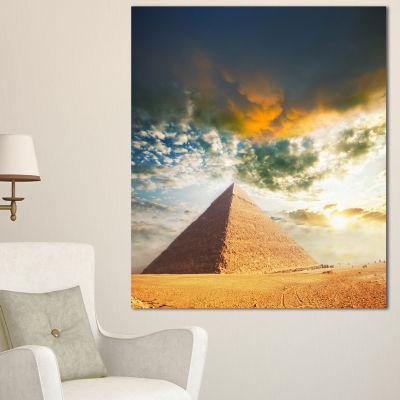 Design Art Egyptian Pyramid Under Cloudy Skies Modern Landscape Canvas Art