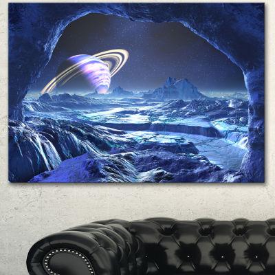 Designart Electric Blue Alien World Landscape Canvas Art Print