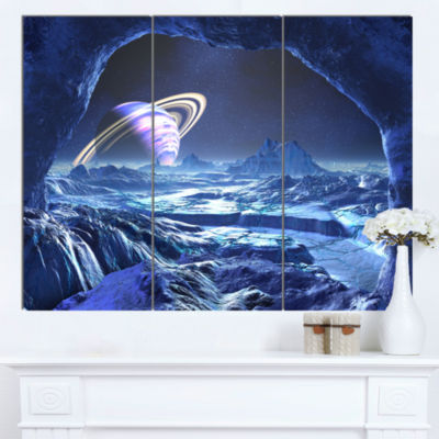 Designart Electric Blue Alien World Landscape Canvas Art Print - 3 Panels