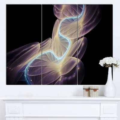 Designart Elegant Fantasy Fractal Design AbstractCanvas Wall Art Print - 3 Panels