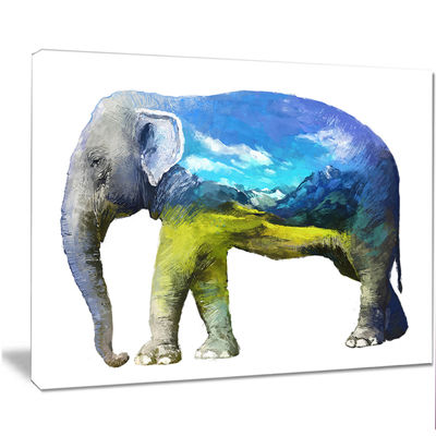 Designart Elephant Double Exposure Illustration Large Animal Canvas Art Print