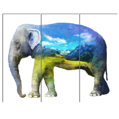 Design Art Elephant Double Exposure Illustration Large Animal Canvas Art Print - 3 Panels