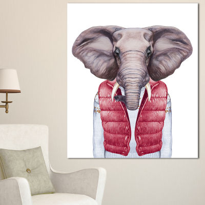 Design Art Elephant In Vest And Sweater Contemporary Animal Art Canvas - 3 Panels