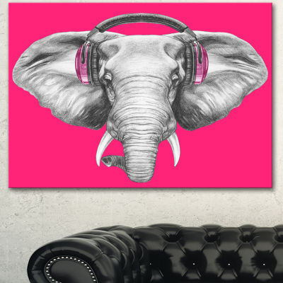 Designart Elephant With Headphones Contemporary Animal Art Canvas