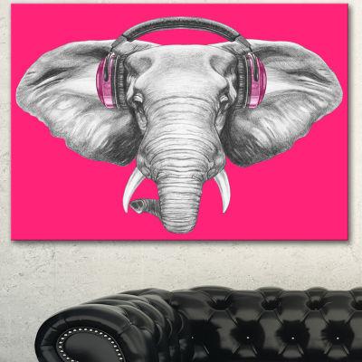 Designart Elephant With Headphones Contemporary Animal Art Canvas - 3 Panels
