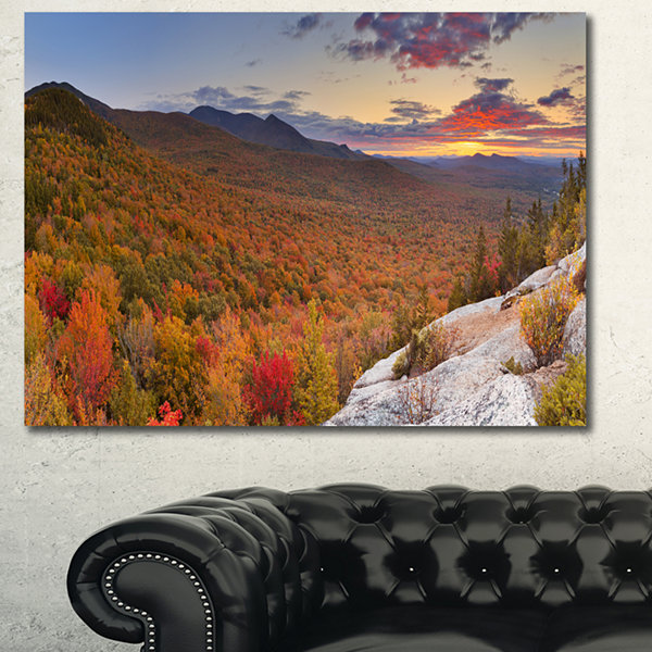 Designart Endless Forests In Fall Panorama Landscape Canvas Art Print - 3 Panels