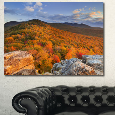 Designart Endless Forests In The Fall Foliage Landscape Canvas Art Print - 3 Panels