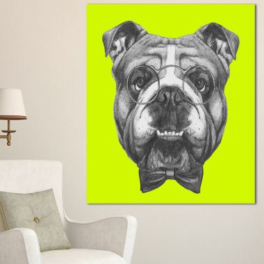 Designart English Bulldog With Bow Tie Contemporary Animal Art Canvas