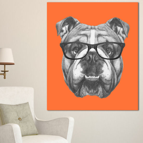 Designart English Bulldog With Glasses Animal Canvas Art Print