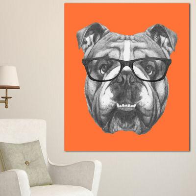 Designart English Bulldog With Glasses Animal Canvas Art Print