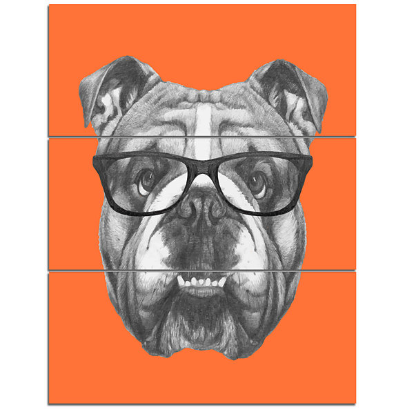 Designart English Bulldog With Glasses Animal Canvas Art Print - 3 Panels