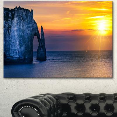 Designart Etretat Cliff Normandy Panorama Large Seashore Canvas Wall Art - 3 Panels