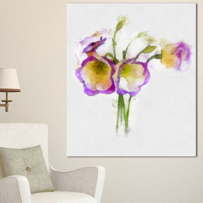 Designart Eustoma Flowers Watercolor Sketch FloralCanvas Art Print