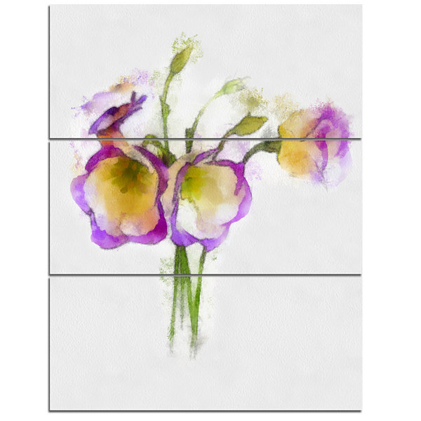 Designart Eustoma Flowers Watercolor Sketch FloralCanvas Art Print - 3 Panels