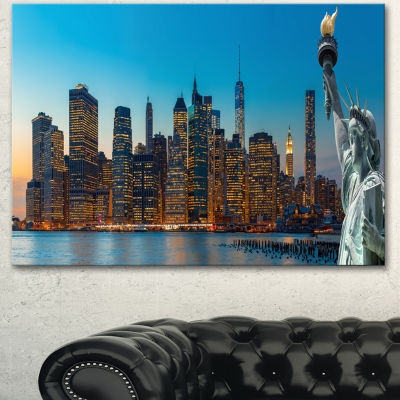 Designart Evening New York City Skyline Panorama Extra Large Canvas Art Print - 3 Panels