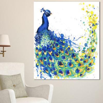 Design Art Exotic Peacock Watercolor ContemporaryAnimal Art Canvas