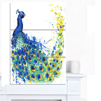 Designart Exotic Peacock Watercolor ContemporaryAnimal Art Canvas - 3 Panels