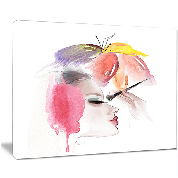 Designart Eye Lash Face Woman Cosmetic Portrait Canvas Art Print