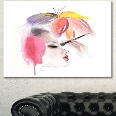 Designart Eye Lash Face Woman Cosmetic Portrait Canvas Art Print - 3 Panels
