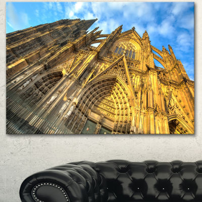 Designart Facade Of Dom Church With Blue Sky LargeCityscape Art Print On Canvas