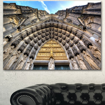 Designart Facade Of The Dom Church In City LargeCityscape Art Print On Canvas - 3 Panels