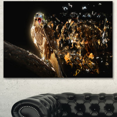 Designart Falcon With Open Beak Animal Canvas WallArt - 3 Panels