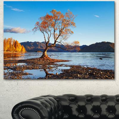 Designart Fall Lake Wanaka New Zealand Large Landscape Canvas Art