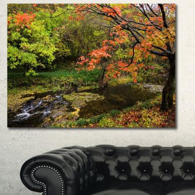 Designart Fall Trees In Bright Colors Landscape Canvas Art Print - 3 Panels