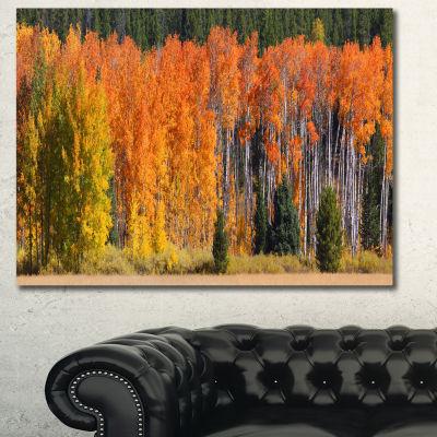 Designart Fall Trees Panorama Landscape Canvas ArtPrint - 3 Panels