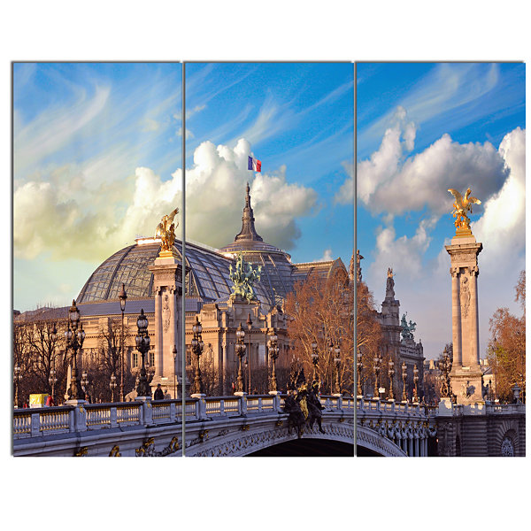 Design Art Famous Great Palace In Paris Modern Cityscape Canvas Art Print - 3 Panels