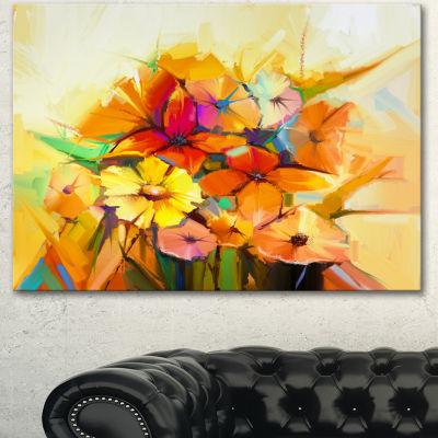 Designart Fantastic Colorful Gerbera Flowers LargeFloral Canvas Art Print