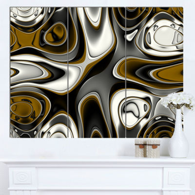 Designart Fantastic Fractal Abstract Pattern LargeAbstract Canvas Artwork - 3 Panels