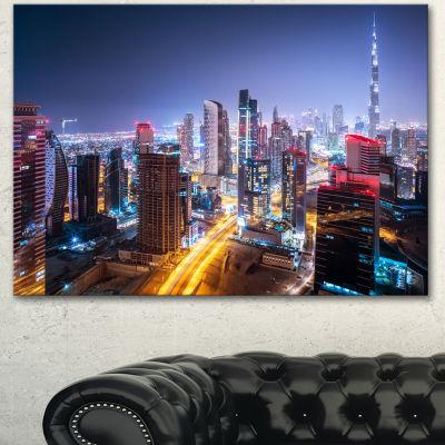 Designart Fantastic Night Cityscape Extra Large Canvas Art Print - 3 Panels