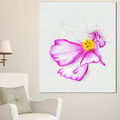 Designart Fantastic Pink Flower Watercolor FloralCanvas Art Print