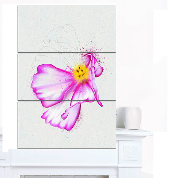 Designart Fantastic Pink Flower Watercolor FloralCanvas Art Print - 3 Panels
