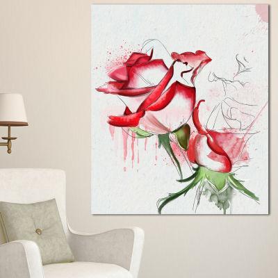 Designart Fantastic Red Roses Watercolor Floral Canvas Art Print