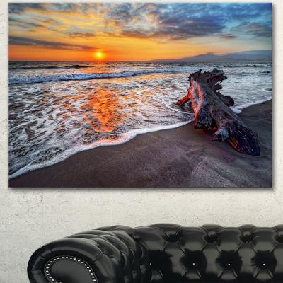 Designart Fantastic Sandy Shore At Sunset SeashoreCanvas Art Print - 3 Panels