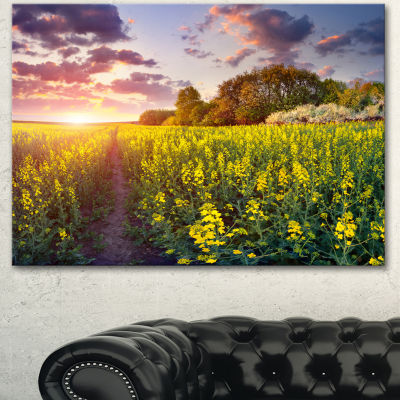 Designart Fantastic Yellow Field At Sunset Large Landscape Canvas Art Print - 3 Panels