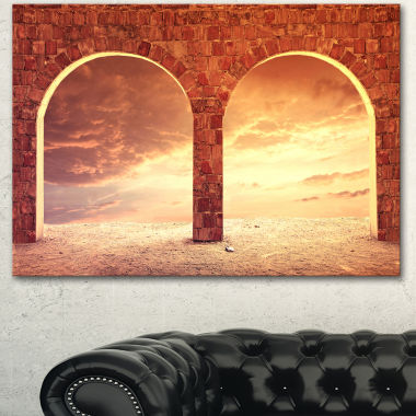 Designart Fantasy Background With Two Arches Landscape Canvas Art Print