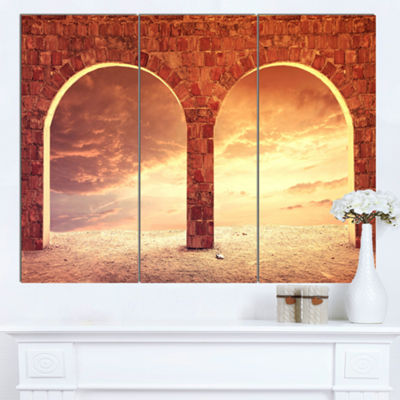 Designart Fantasy Background With Two Arches Landscape Canvas Art Print - 3 Panels