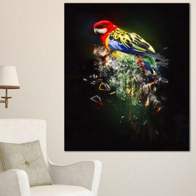 Design Art Fantasy Parrot On Branch Animal CanvasWall Art - 3 Panels